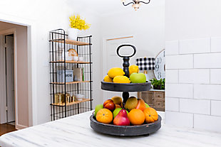 Distressed Blackwashed Wood 2-Tier Tray with Metal Handle, , rollover