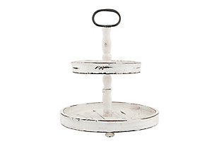 Distressed Cream Wood 2-Tier Tray with Metal Handle, , large