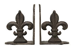 Fleur de Lis Shaped Iron Bookends (Set of 2), , large