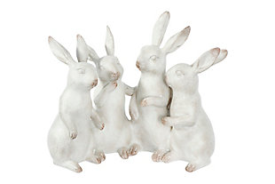 Whitewashed Polyresin Bunny Rabbit Quartet, , large