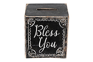 """""""Bless You"""" Black and White Wood Tissue Box, , large"""