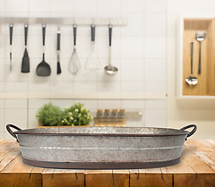 Oval Distressed Galvanized Metal Tray with Handles, , rollover