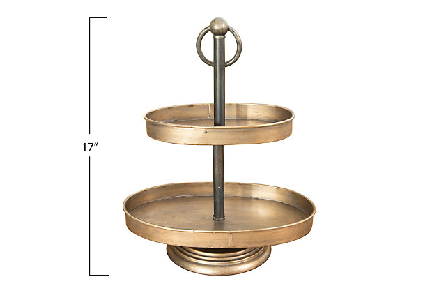 Decorative Metal 2-Tier Tray, , large