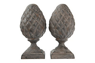 Resin Pinecone Finial Bookends, , large