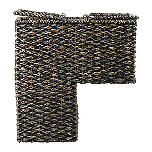 Bangkuan and Rattan Black Stair Basket with Handle, , large