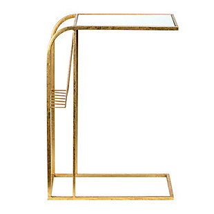 Gold Metal Side Table with Magazine Rack and Glass Top, , large