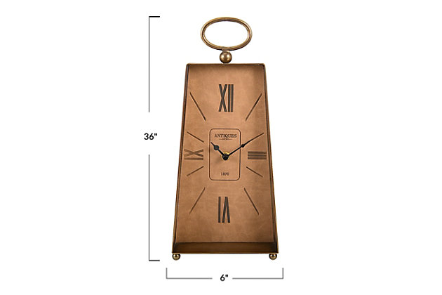 Gold Metal Mantel Clock With Faux Leather, , large