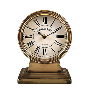 Metal Mantel Clock With Gold Finish, , large
