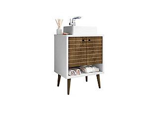 "Manhattan Comfort Liberty 23.6"" Bathroom Vanity Sink, White/Rustic Brown, large"