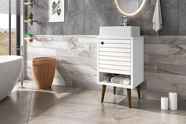 "Manhattan Comfort Liberty 17.7"" Bathroom Vanity Sink, White, large"