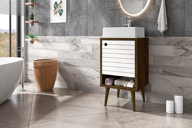 "Manhattan Comfort Liberty 17.7"" Bathroom Vanity Sink, Rustic Brown/White, large"