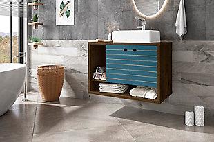 "Manhattan Comfort Liberty Floating 31.5"" Bathroom Vanity Sink, Rustic Brown/Aqua Blue, large"