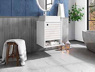 "Manhattan Comfort Liberty Floating 17.7"" Bathroom Vanity Sink, White, rollover"