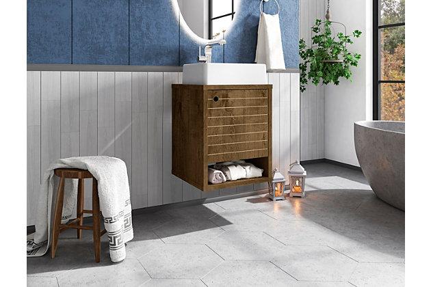 """Manhattan Comfort Liberty Floating 17.7"""" Bathroom Vanity Sink, Rustic Brown, large"""
