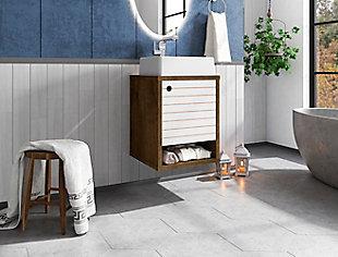 """Manhattan Comfort Liberty Floating 17.7"""" Bathroom Vanity Sink, Rustic Brown/White, large"""