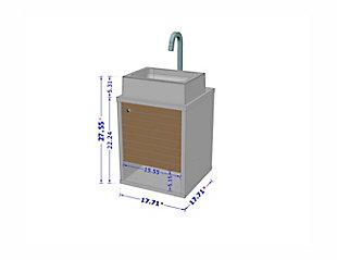 "Manhattan Comfort Liberty Floating 17.7"" Bathroom Vanity Sink, Rustic Brown/Aqua Blue, large"