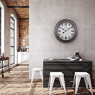 "A TOUCH OF DESIGN 31.5"" Large English Electric Wall Clock with Silver Frame, , rollover"