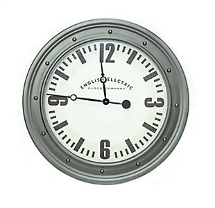 "A TOUCH OF DESIGN 31.5"" Large English Electric Wall Clock with Silver Frame, , large"