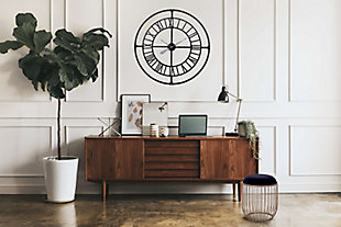 """A TOUCH OF DESIGN 36"""" Large Modern Industrial Wall Clock with Roman Numerals, , rollover"""