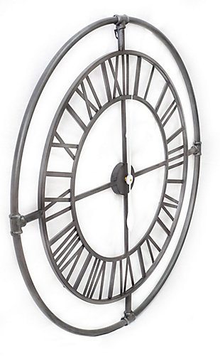"""A TOUCH OF DESIGN 36"""" Large Modern Industrial Wall Clock with Roman Numerals, , large"""