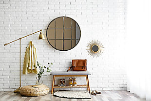 "A TOUCH OF DESIGN 30"" Round Windowpane Mirror with Bronze Metal Finish, , large"