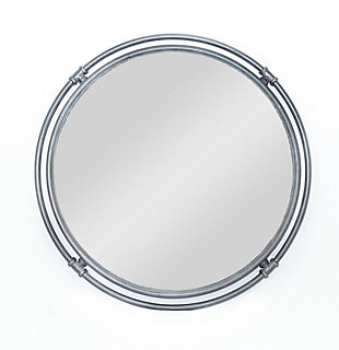 "A TOUCH OF DESIGN 30"" Round Black Metal Wall Mirror with Double Iron Frame, , large"