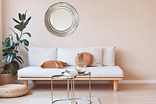 "A TOUCH OF DESIGN 34"" Round Mirror with Rustic Wood Frame, , rollover"