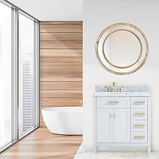 """A TOUCH OF DESIGN 26"""" Round Mirror with Double Wood Circle Frame, , rollover"""