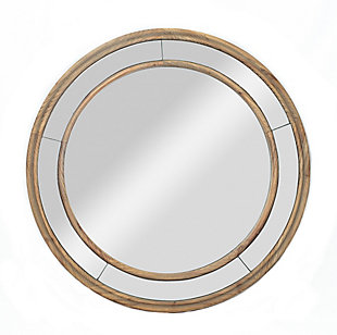 "A TOUCH OF DESIGN 26"" Round Mirror with Double Wood Circle Frame, , large"