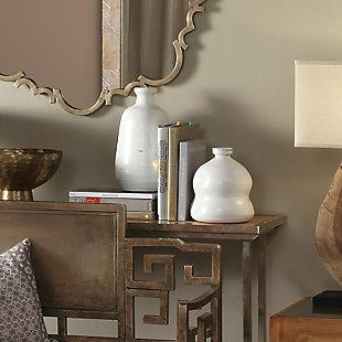 Dimple Vase in Matte White Ceramic, , rollover