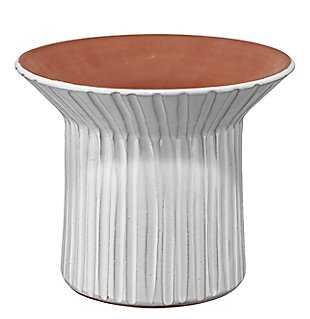 Wide Podium Vessel in Cream Ceramic, , large
