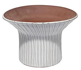 Short Podium Vessel in Cream Ceramic, , large