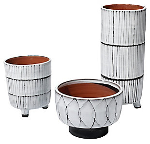 Striae Vessels in Cream & Dark Gray Ceramic (Set of 3), , large