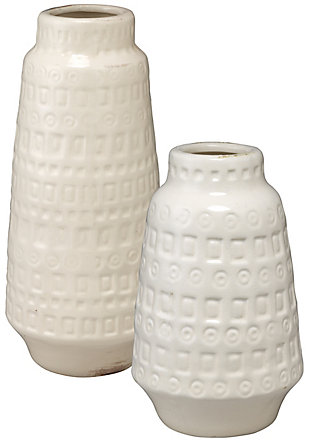 Coco Vessels in White Ceramic (Set of 2), , large