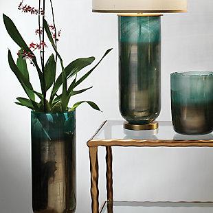 Large Vapor Vase in Metallic Aqua, , rollover