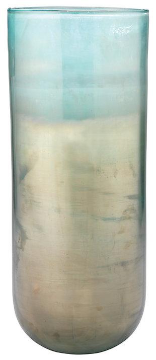 Large Vapor Vase in Metallic Aqua, , large