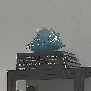 Triton Shell in Steel Blue Blown Glass, , rollover