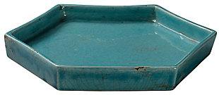 Small Porto Tray in Blue Ceramic, , large