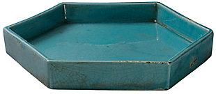 Large Porto Tray in Blue Ceramic, , large