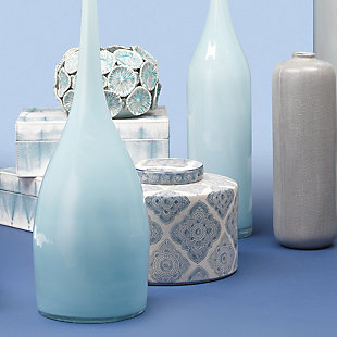 Oran Canisters in Blue and White Ceramic (Set of 2), , rollover