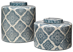 Oran Canisters in Blue and White Ceramic (Set of 2), , large