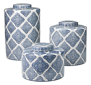 Large Oran Canister in Blue and White Ceramic, , rollover