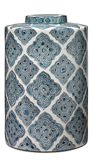 Large Oran Canister in Blue and White Ceramic, , large