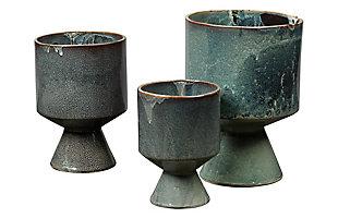 Berkeley Pots in Blue Ceramic (Set of 3), , large