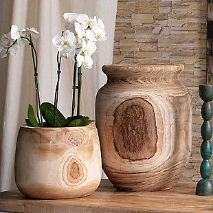 Brea Wooden Vase in Natural Wood, , rollover