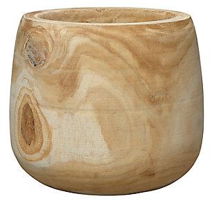 Brea Wooden Vase in Natural Wood, , large