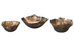 Fleur Ceramic Bowls in Antique Gold Ceramic (Set of 3), , large