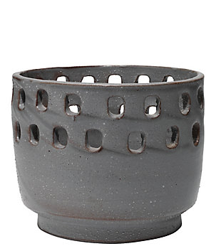 Large Perforated Pot in Gray Ceramic, , large