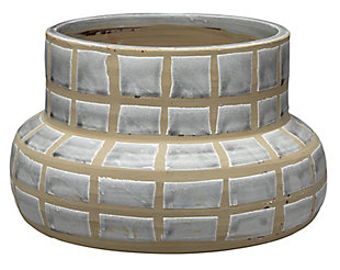 Grid Ceramic Vase in Gray Ceramic, , large