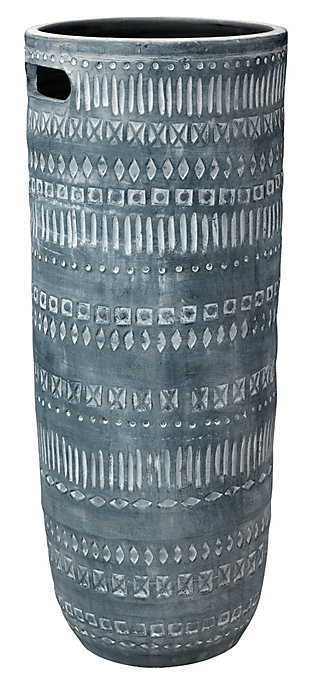 Large Zion Ceramic Vase in Gray and White, , large